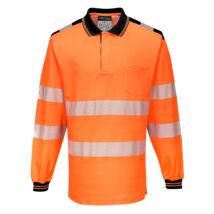 T184 - PW3 Hi-Vis hosszú ujjú pólóing - Narancs/Fekete