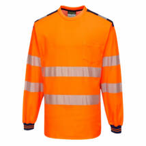 T185 - PW3 Hi-Vis hosszú ujjú póló - Narancs/Tengerészkék