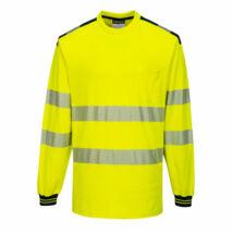 T185 - PW3 Hi-Vis hosszú ujjú póló - Sárga/Fekete