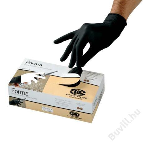 FORMA latex púderezett egyszerhasználatos kesztyű fekete 50 darab / doboz - SSY-11254